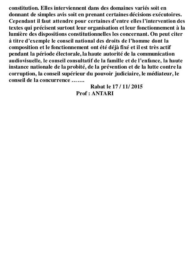 constitution. Elles interviennent dans des domaines variés soit en donnant de simples avis soit en prenant certaines décis...