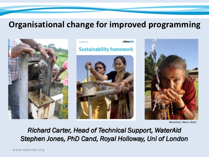 Organisational change for improved programming                                                   WaterAid/ Marco Betti    ...