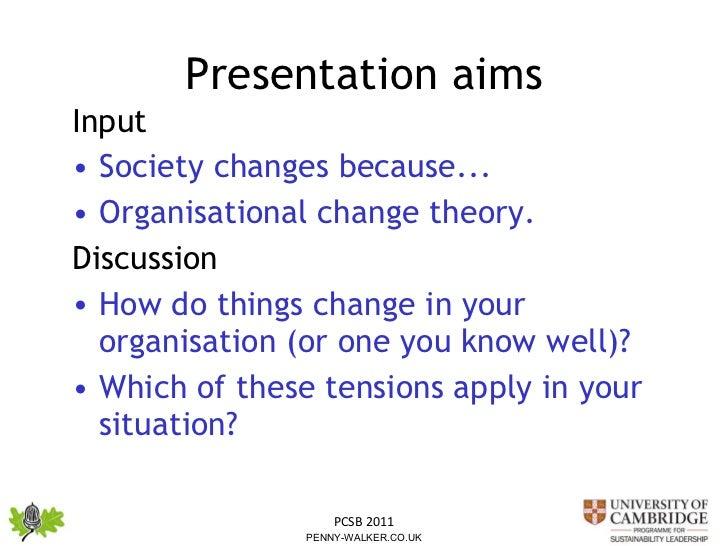 Presentation aims <ul><li>Input  </li></ul><ul><li>Society changes because... </li></ul><ul><li>Organisational change theo...