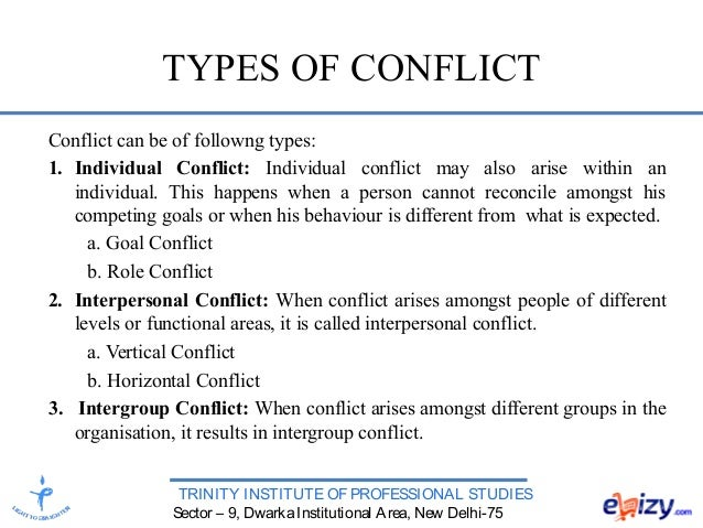 organization conflict Though usually people think of it as a bad thing, conflict can be a positive occurrence within an organization to bring about change two types of conflict are dysfunctional (negative conflict.