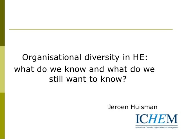 Organisational diversity in HE:what do we know and what do we        still want to know?                     Jeroen Huisman
