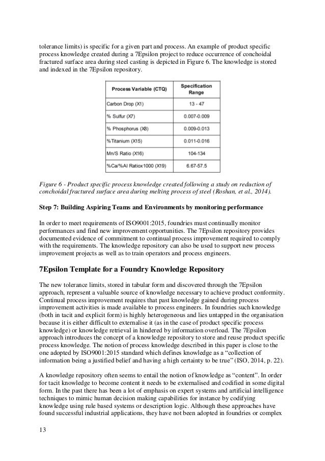 13 tolerance limits) is specific for a given part and process. An example of product specific process knowledge created du...