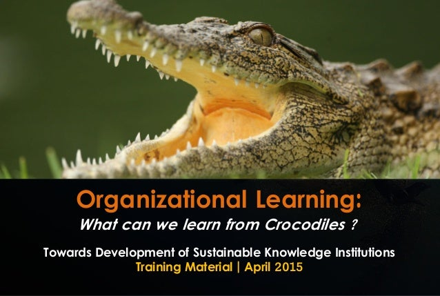 Organizational Learning: Towards Development of Sustainable Knowledge Institutions Training Material | April 2015 What can...