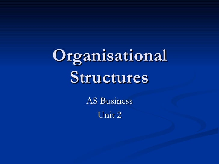 Organisational Structures AS Business Unit 2