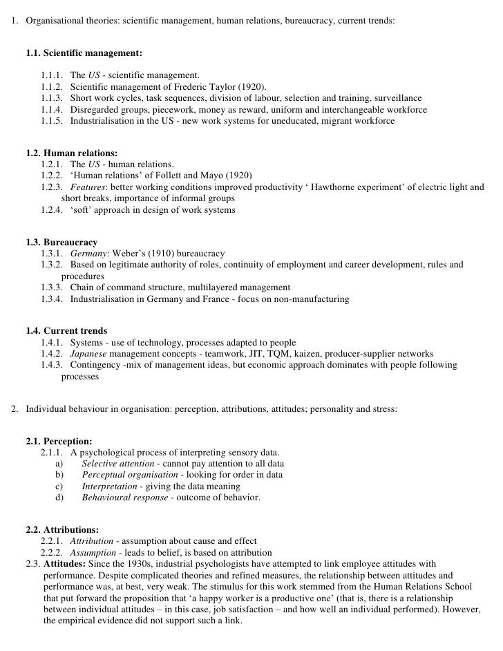 1. Organisational theories: scientific management, human relations, bureaucracy, current trends:      1.1. Scientific mana...