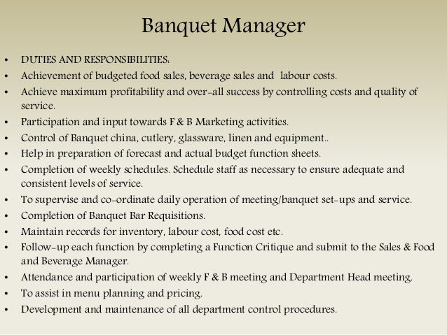8 bar manager duties - Banquet Manager Job Description