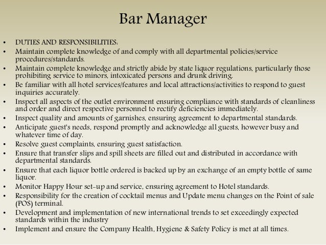 Captivating SlideShare Regarding Bar Manager Duties