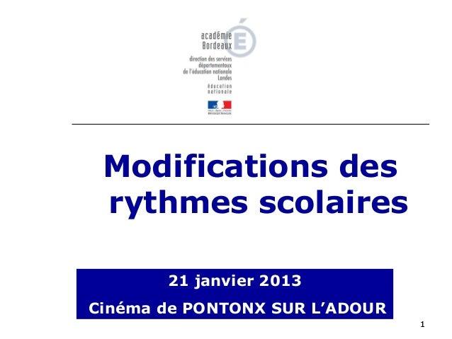 Modifications des rythmes scolaires       21 janvier 2013Cinéma de PONTONX SUR L'ADOUR                                1