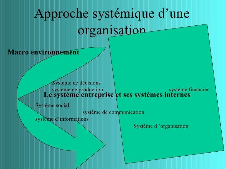 Approche systémique d'une             organisationMacro environnement             Système de décisions             système...