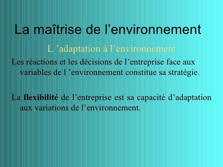 La maîtrise de l'environnement          L 'adaptation à l'environnementLes réactions et les décisions de l'entreprise face...