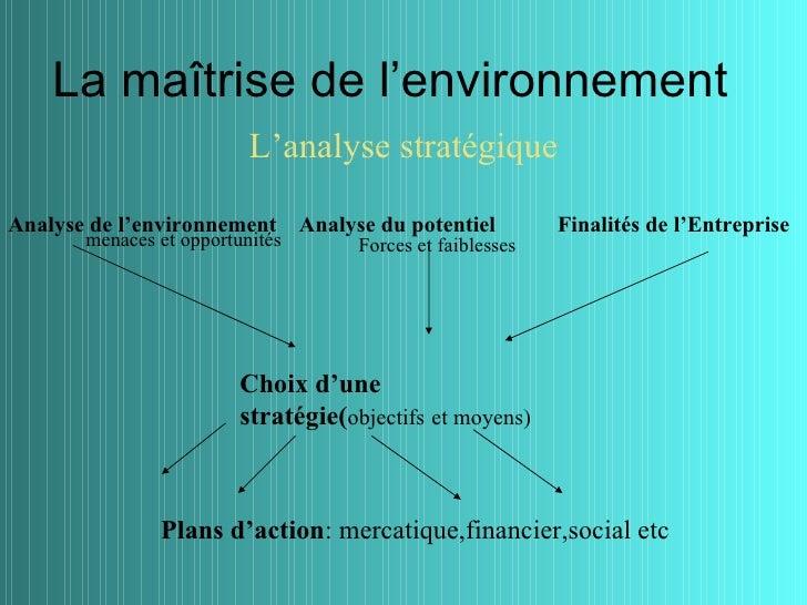 La maîtrise de l'environnement                          L'analyse stratégiqueAnalyse de l'environnement       Analyse du p...