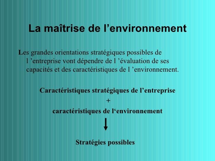 La maîtrise de l'environnementLes grandes orientations stratégiques possibles de  l 'entreprise vont dépendre de l 'évalua...