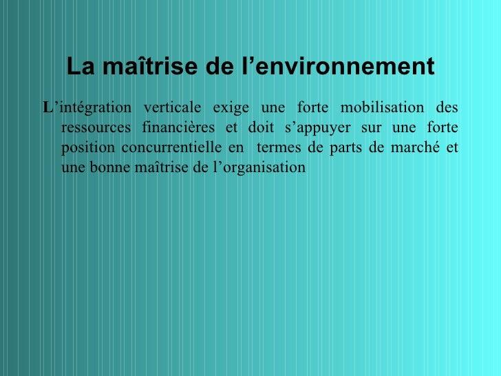 La maîtrise de l'environnementL'intégration verticale exige une forte mobilisation des  ressources financières et doit s'a...