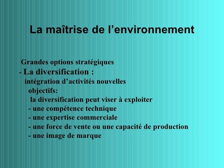La maîtrise de l'environnement Grandes options stratégiques- La diversification :  intégration d'activités nouvelles   obj...