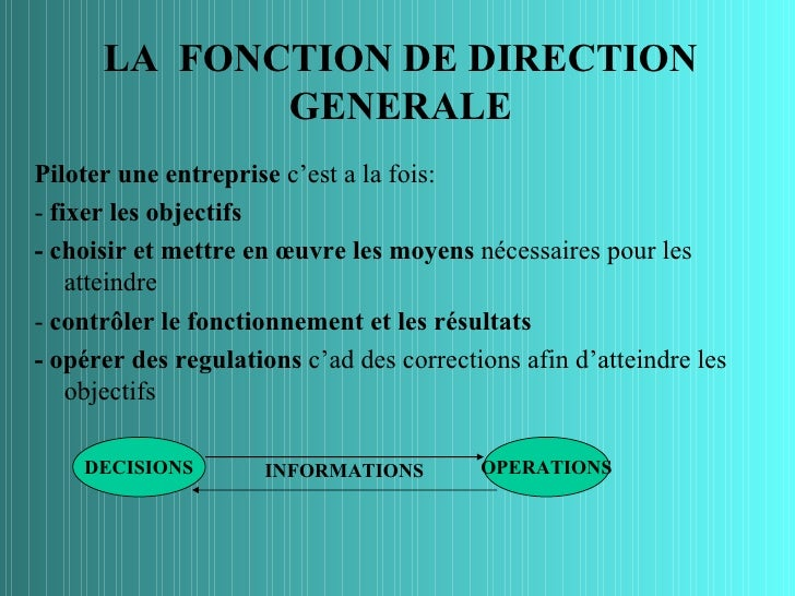 LA FONCTION DE DIRECTION             GENERALEPiloter une entreprise c'est a la fois:- fixer les objectifs- choisir et mett...