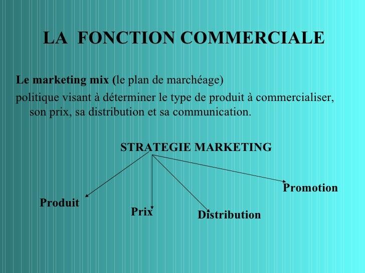 LA FONCTION COMMERCIALELe marketing mix (le plan de marchéage)politique visant à déterminer le type de produit à commercia...