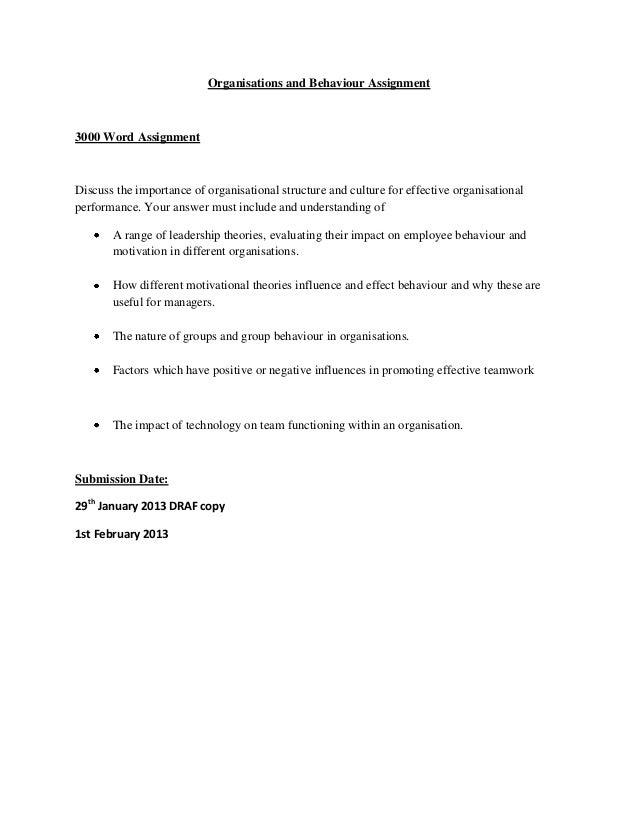 assignment on organization