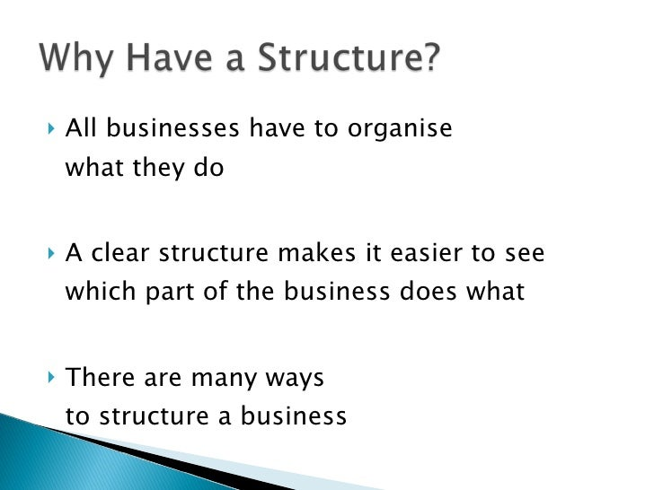 <ul><li>All businesses have to organise  what they do </li></ul><ul><li>A clear structure makes it easier to see which par...
