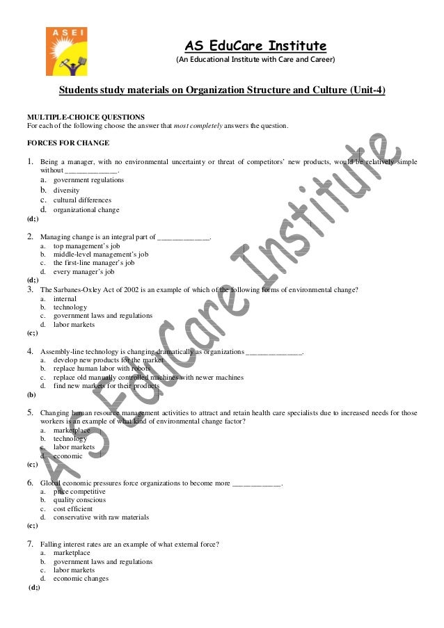 AS EduCare Institute (An Educational Institute with Care and Career) Students study materials on Organization Structure an...