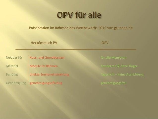 Präsentation im Rahmen des Wettbewerbs 2015 von gründen.de Herkömmlich PV OPV Nutzbar für Haus- und Grundbesitzer für alle...