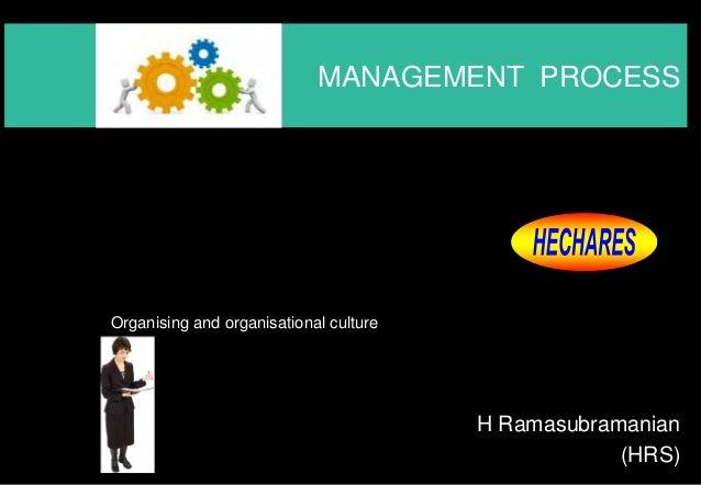 MANAGEMENT PROCESS  H Ramasubramanian  (HRS)  Organising and organisational culture