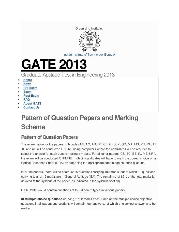 Organising Institute:                                Indian Institute of Technology BombayGATE 2013Graduate Aptitude Test ...