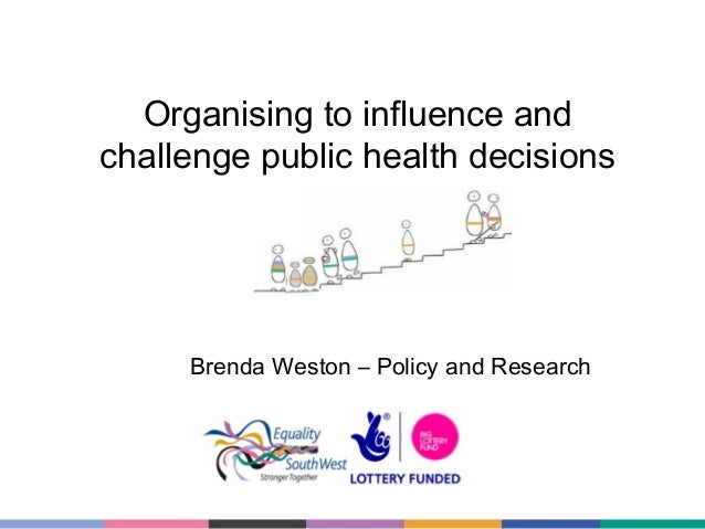 Organising to influence and challenge public health decisions  Brenda Weston – Policy and Research