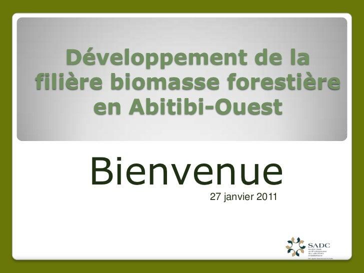 Développement de la filière biomasse forestière en Abitibi-Ouest<br />Bienvenue <br />27 janvier 2011<br />