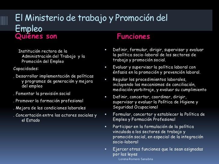 Organismos de trabajo diapositiva for Ministerio del interior empleo