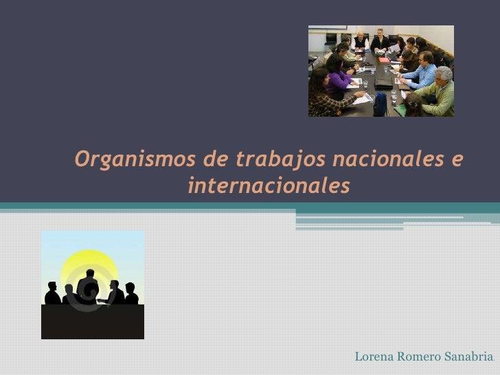 Organismos De Trabajos Nacionales E Internacionales