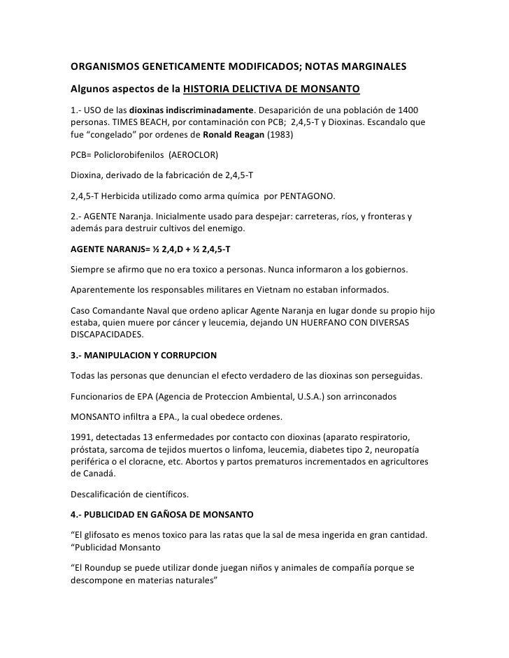 ORGANISMOS GENETICAMENTE MODIFICADOS; NOTAS MARGINALES<br />Algunos aspectos de la HISTORIA DELICTIVA DE MONSANTO<br />1.-...