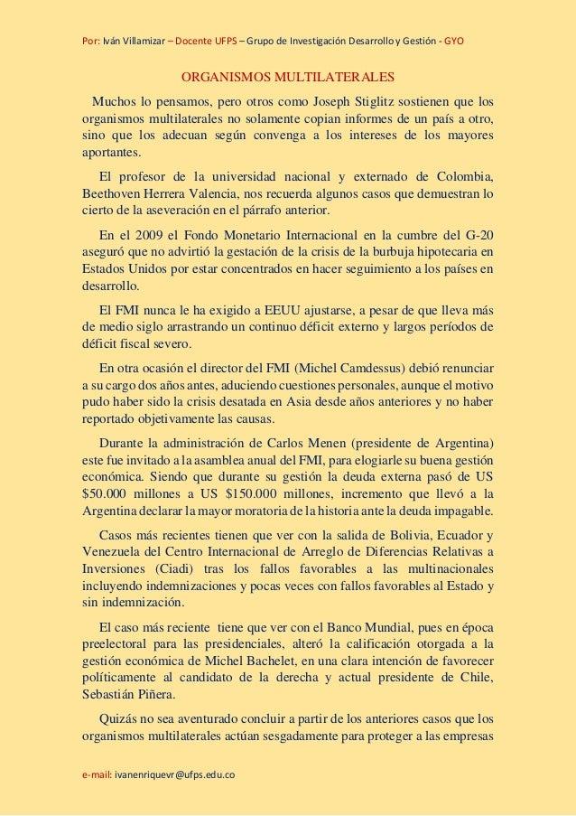 Por: Iván Villamizar – Docente UFPS – Grupo de Investigación Desarrollo y Gestión - GYO e-mail: ivanenriquevr@ufps.edu.co ...