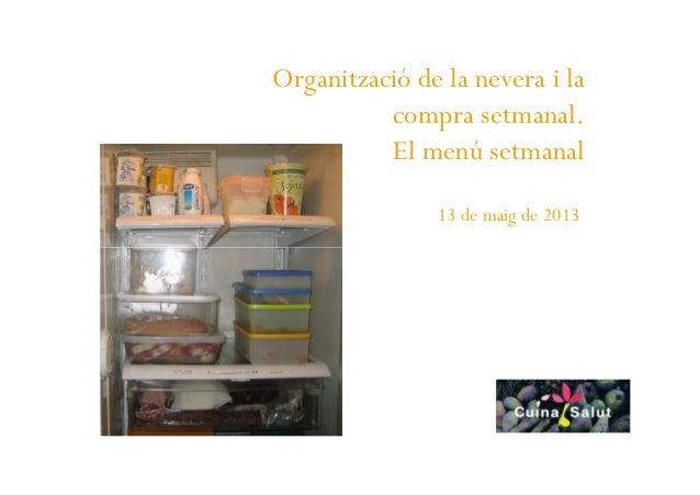 Organització de la nevera i lacompra setmanal.El menú setmanal13 de maig de 2013
