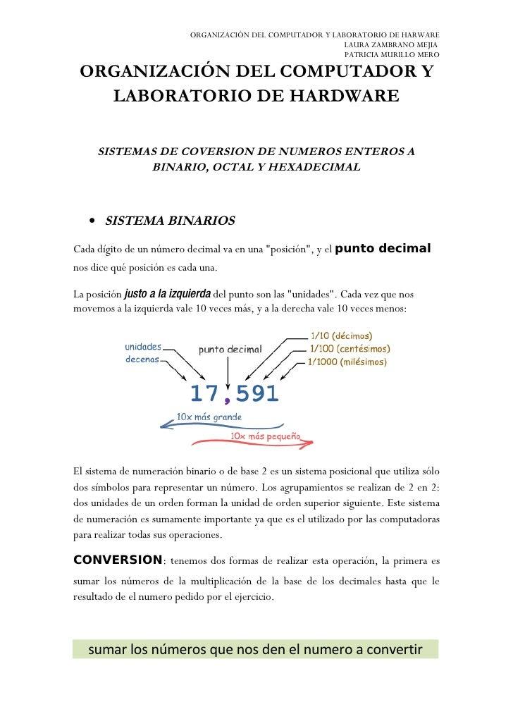 ORGANIZACIÓN DEL COMPUTADOR Y LABORATORIO DE HARWARE                                                             LAURA ZAM...