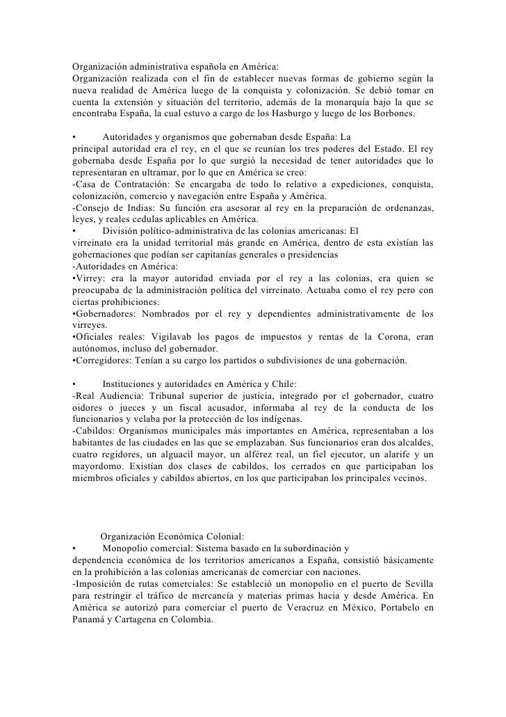 Organización administrativa española en América: Organización realizada con el fin de establecer nuevas formas de gobierno...