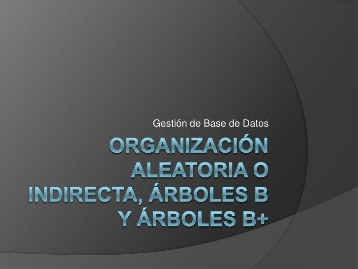 Organización aleatoria o indirecta, árboles b y árboles b+<br />Gestión de Base de Datos<br />