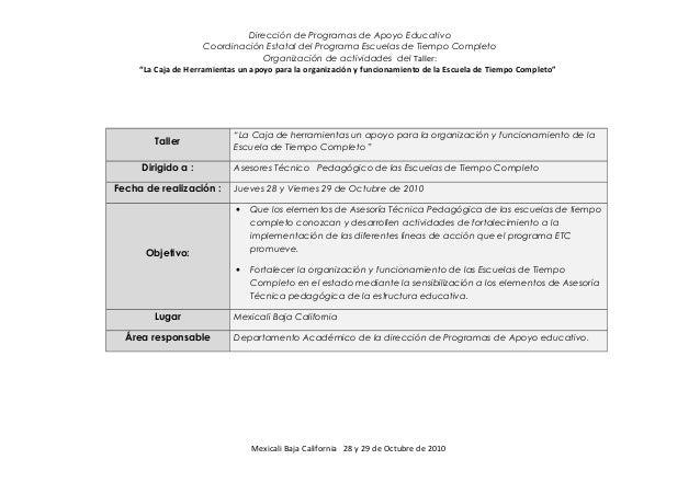 Carta descriptiva taller la caja de herramientas en la for Memoria descriptiva de un colegio
