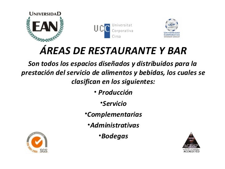 Organizaci n de areas para el servicio ean for Areas de un restaurante