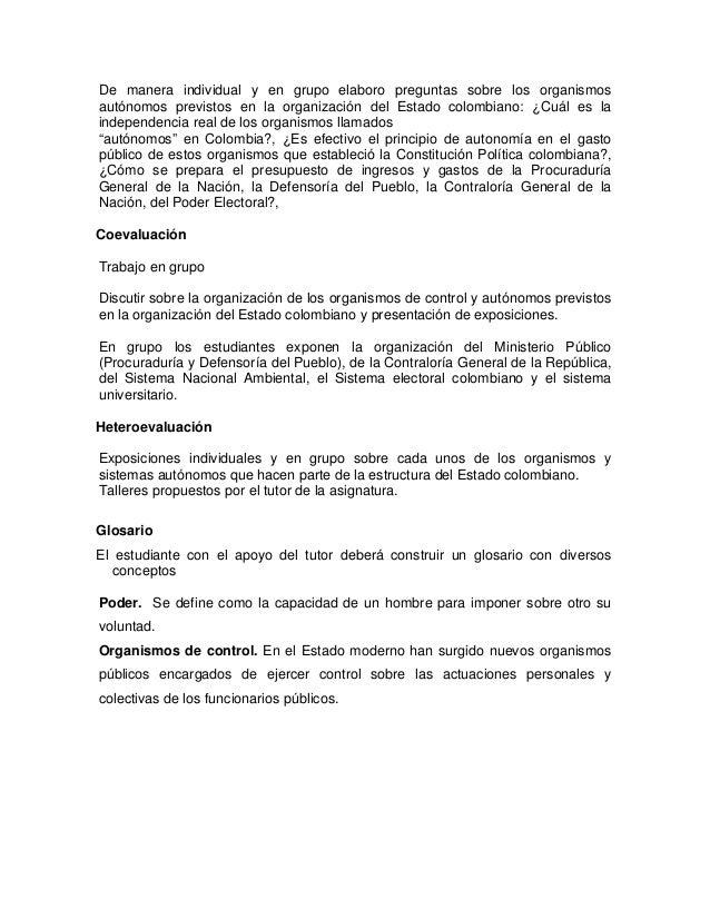 Organización Del Estado Colombiano Y Formas Organizativas