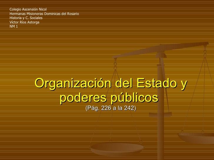 Organización del Estado y poderes públicos   (Pág. 226 a la 242) Colegio Ascensión Nicol  Hermanas Misioneras Dominicas de...