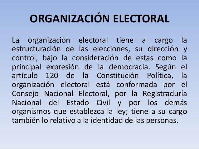 ORGANIZACIÓN ELECTORALLa organización electoral tiene a cargo laestructuración de las elecciones, su dirección ycontrol, b...