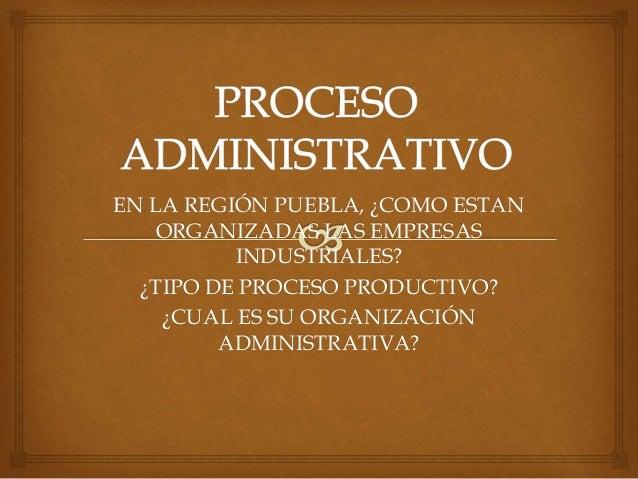 EN LA REGIÓN PUEBLA, ¿COMO ESTAN ORGANIZADAS LAS EMPRESAS INDUSTRIALES? ¿TIPO DE PROCESO PRODUCTIVO? ¿CUAL ES SU ORGANIZAC...