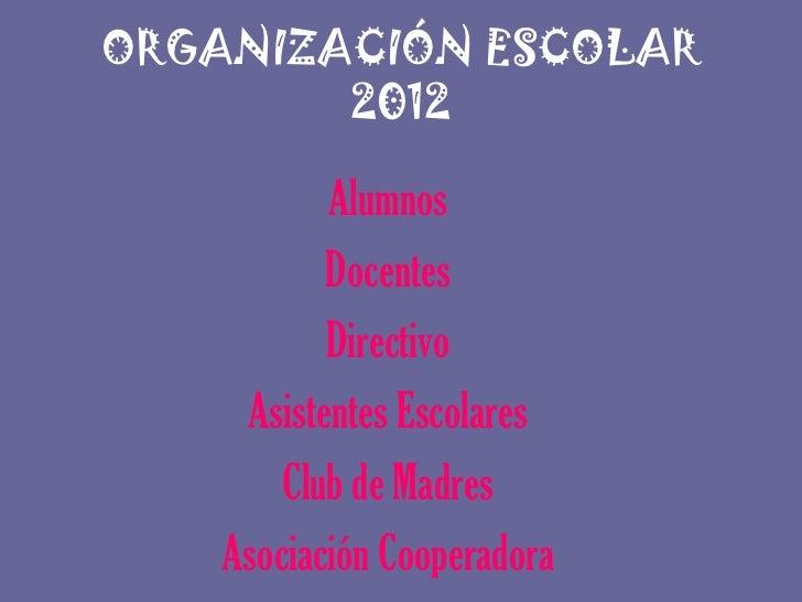 ORGANIZACIÓN ESCOLAR        2012           Alumnos           Docentes           Directivo     Asistentes Escolares        ...