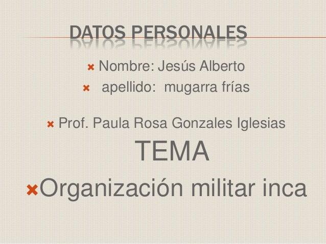 DATOS PERSONALES  Nombre: Jesús Alberto  apellido: mugarra frías  Prof. Paula Rosa Gonzales Iglesias TEMA Organización...