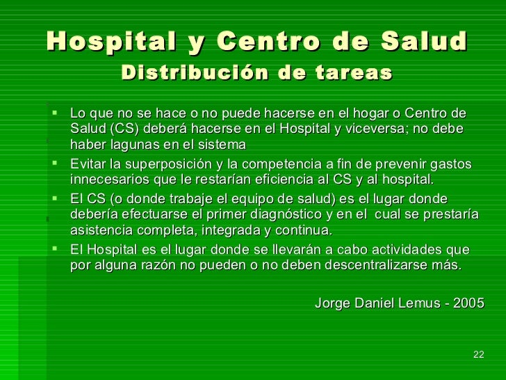 Hospital y Centro de Salud Distribución de tareas <ul><li>Lo que no se hace o no puede hacerse en el hogar o Centro de Sal...
