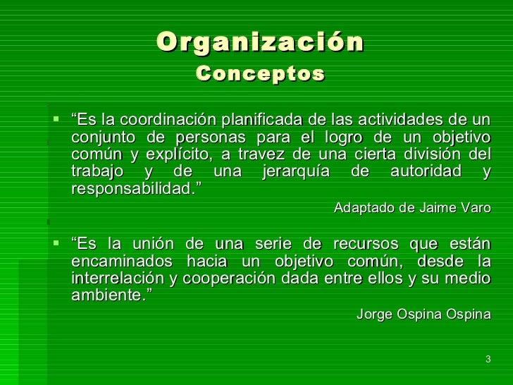 """Organización Conceptos <ul><li>"""" Es la coordinación planificada de las actividades de un conjunto de personas para el logr..."""