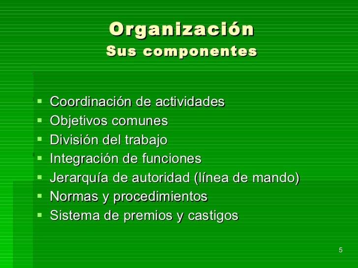 Organización Sus componentes <ul><li>Coordinación de actividades </li></ul><ul><li>Objetivos comunes </li></ul><ul><li>Div...