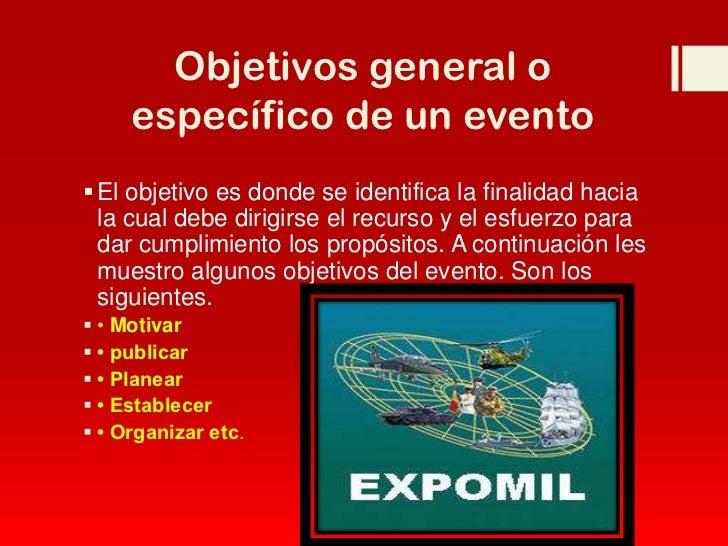 Organizaci n y planificaci n de eventos for Objetivo general de un vivero