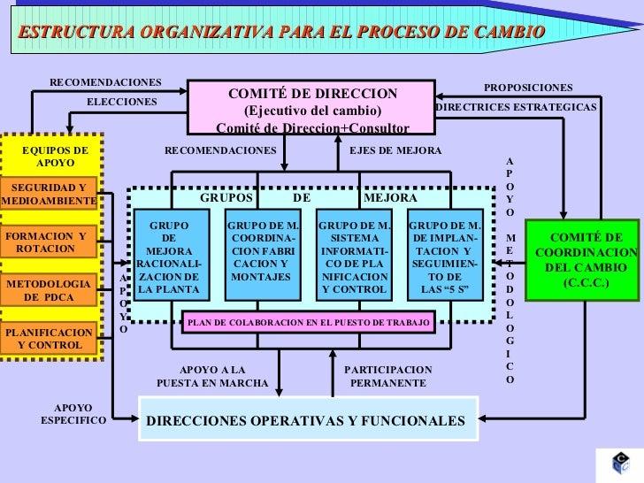 ESTRUCTURA ORGANIZATIVA PARA EL PROCESO DE CAMBIO COMITÉ DE DIRECCION (Ejecutivo del cambio) Comité de Direccion+Consultor...