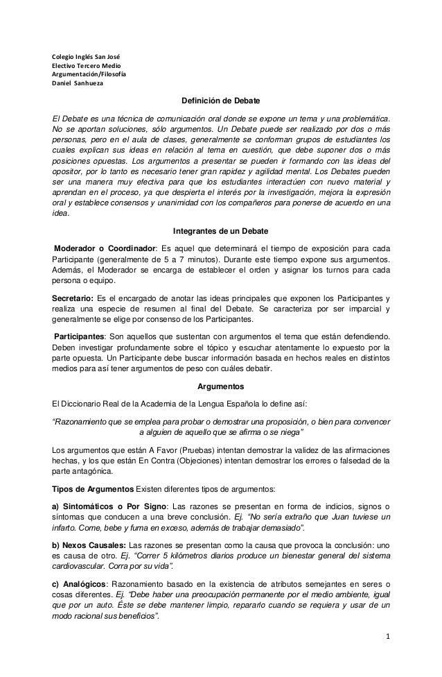 1  Colegio Inglés San José  Electivo Tercero Medio  Argumentación/Filosofía  Daniel Sanhueza  Definición de Debate  El Deb...